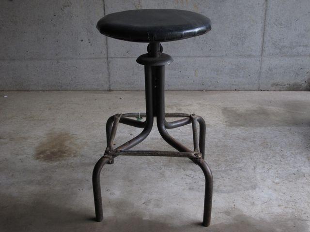 画像1: Vintage Leather stool