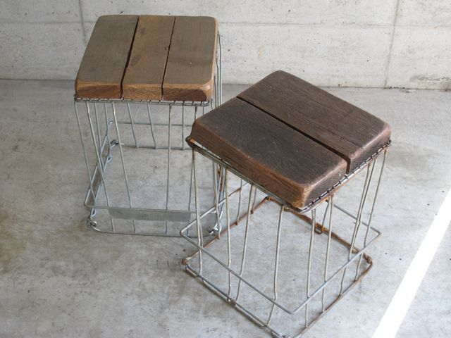 画像1: Vintage Wood&Iron Stool