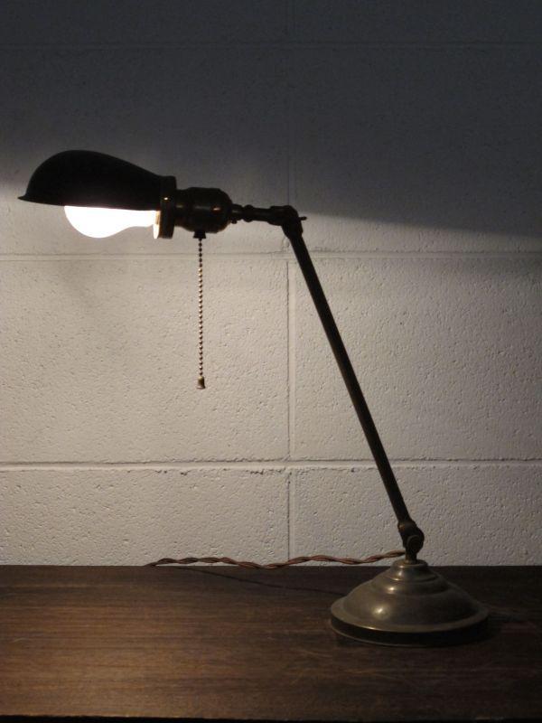 画像1: Vintage Brass Side Table Lamp