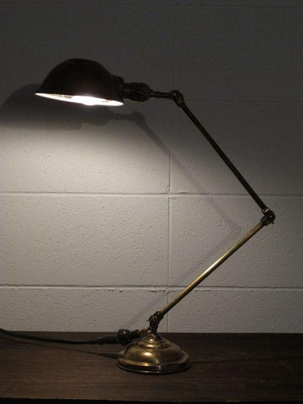 画像1: Industrial Articulated brass desk Lamp